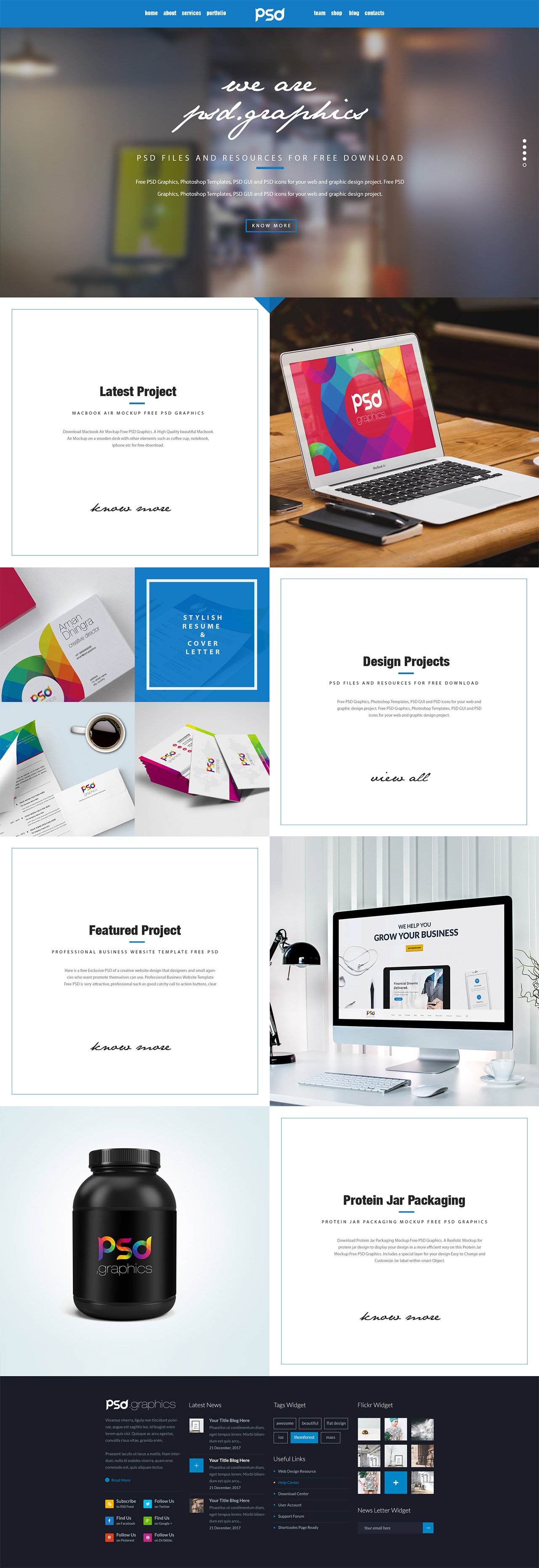 Personal portfolio website template free psd graphics for Free portfolio website templates