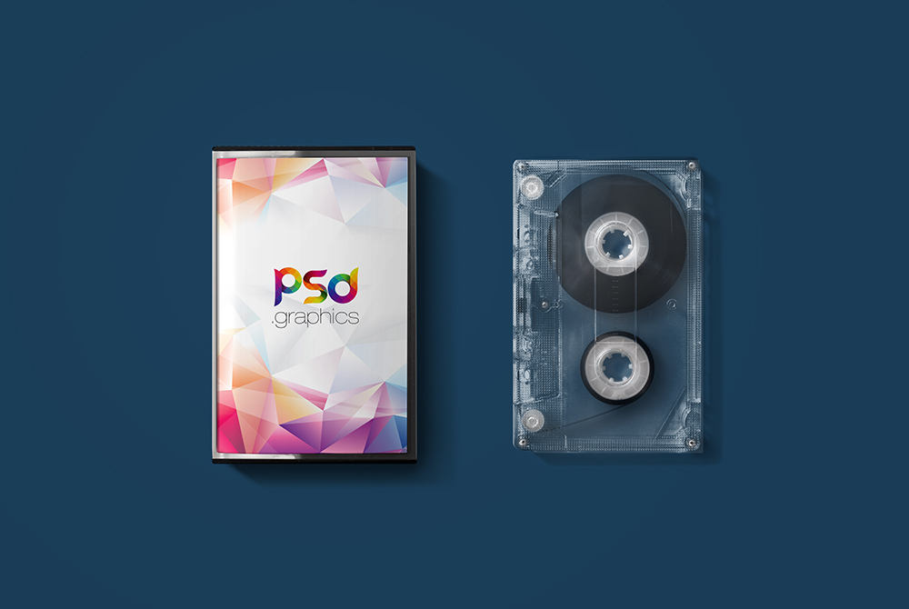 Audio Cassette Cover Mockup Free PSD