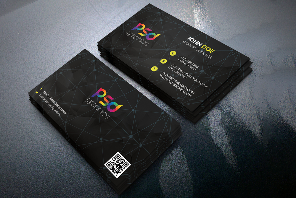 Black business card template free psd psd graphics for Business card template black