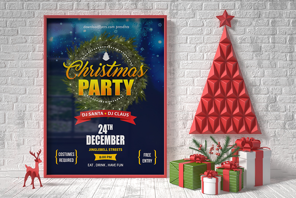 Christmas Poster Flyer Mockup Free PSD