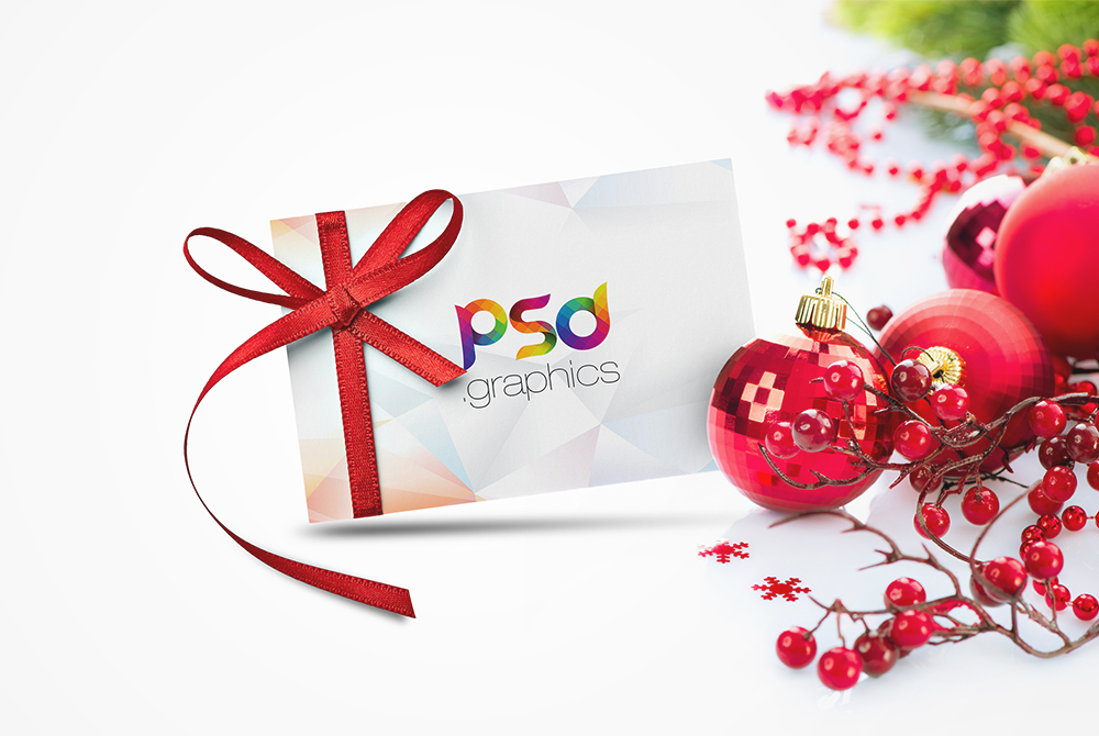 Christmas Gift Card Mockup Free PSD