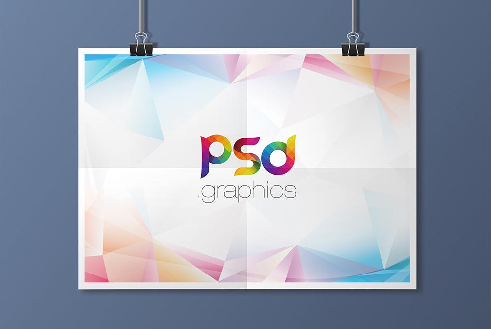 Hanging Landscape Poster Mockup Free PSD