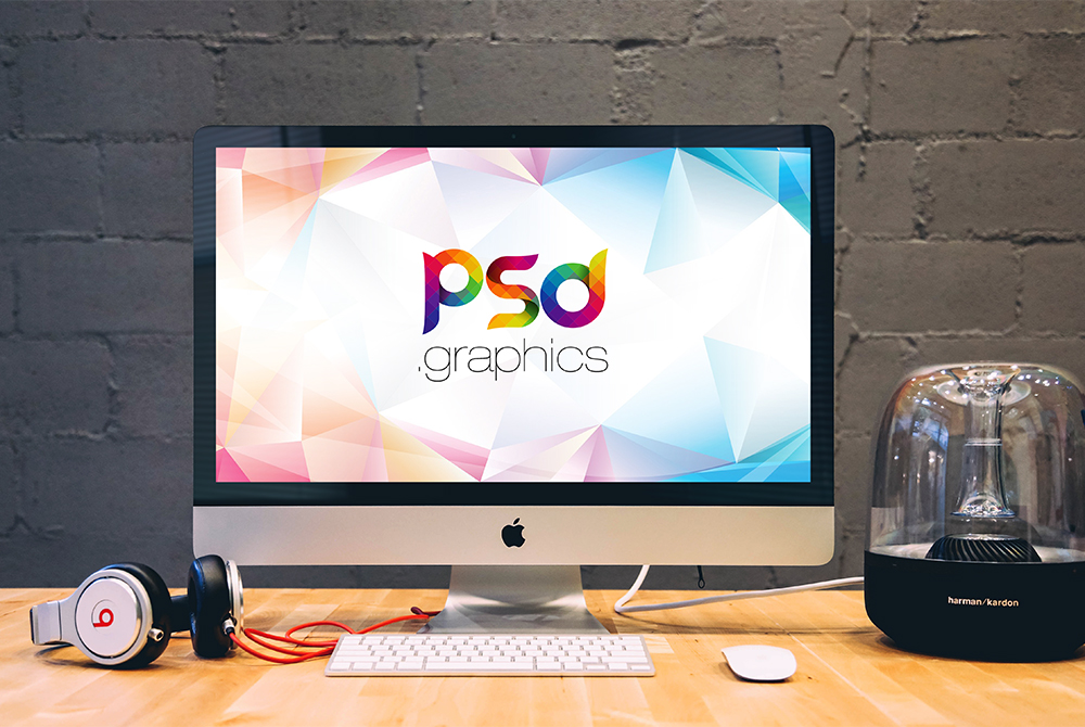 apple imac on desk mockup psd