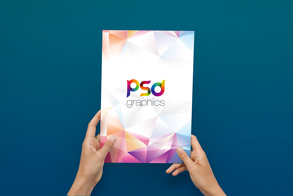 A4 Flyer in Hand Mockup Free PSD