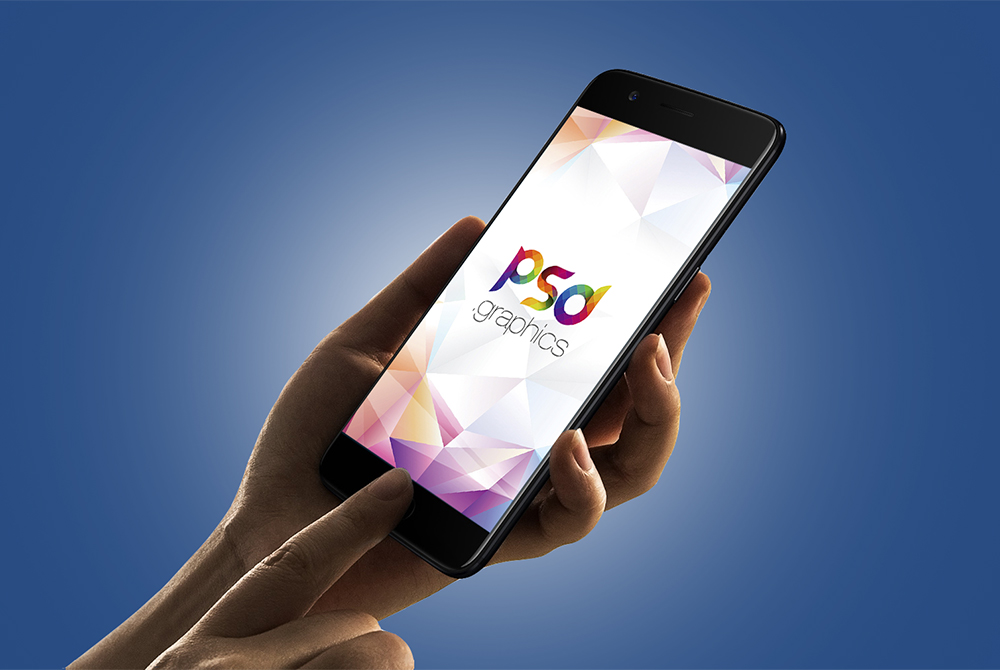 Smartphone in Hand Mockup Free PSD