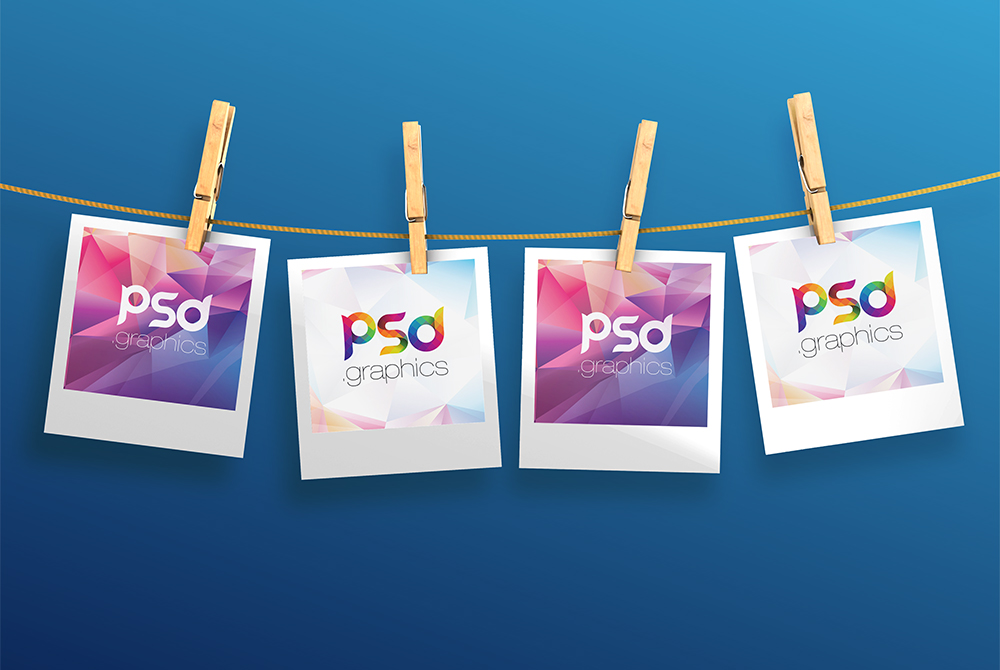 hanging polaroid photos mockup free psd