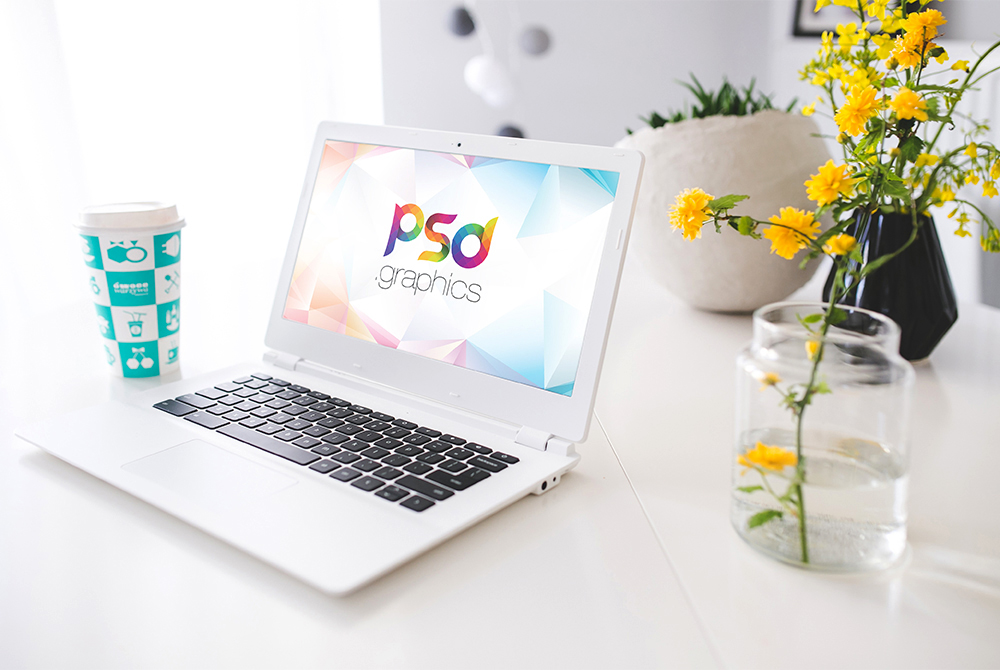 White Laptop Mockup Free PSD