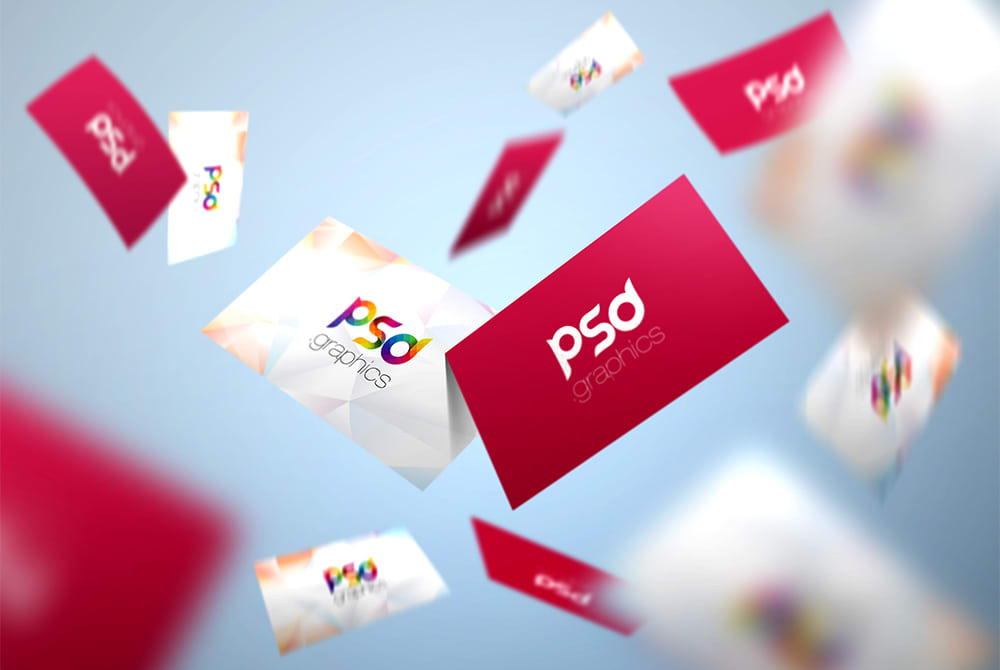 Flying Business Card Mockup Free PSD