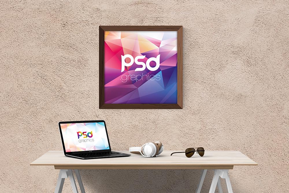 Square Wall Frame Mockup PSD