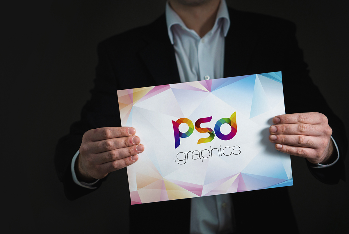 Holding Placard Mockup Free PSD
