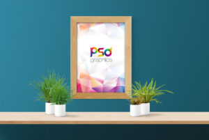 Wooden Wall Poster Frame Mockup Free PSD