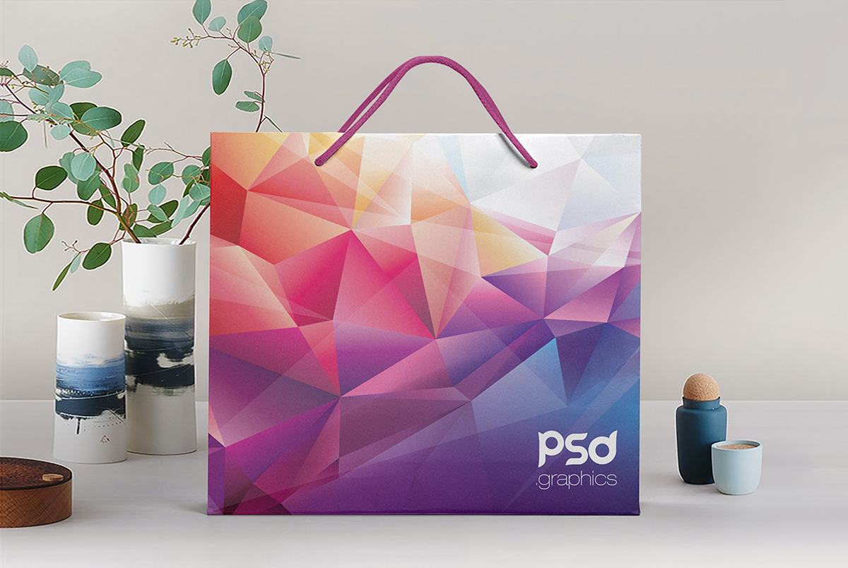 Shopping Paper Bag Mockup PSD