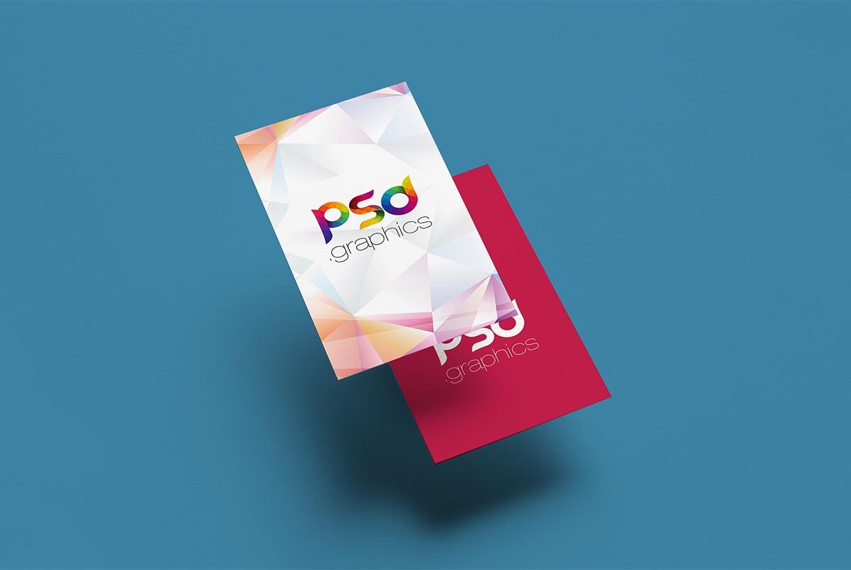 Floating Vertical Business Card Mockup PSD