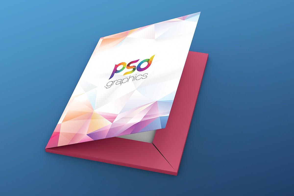 Paper Folder Mockup Free PSD