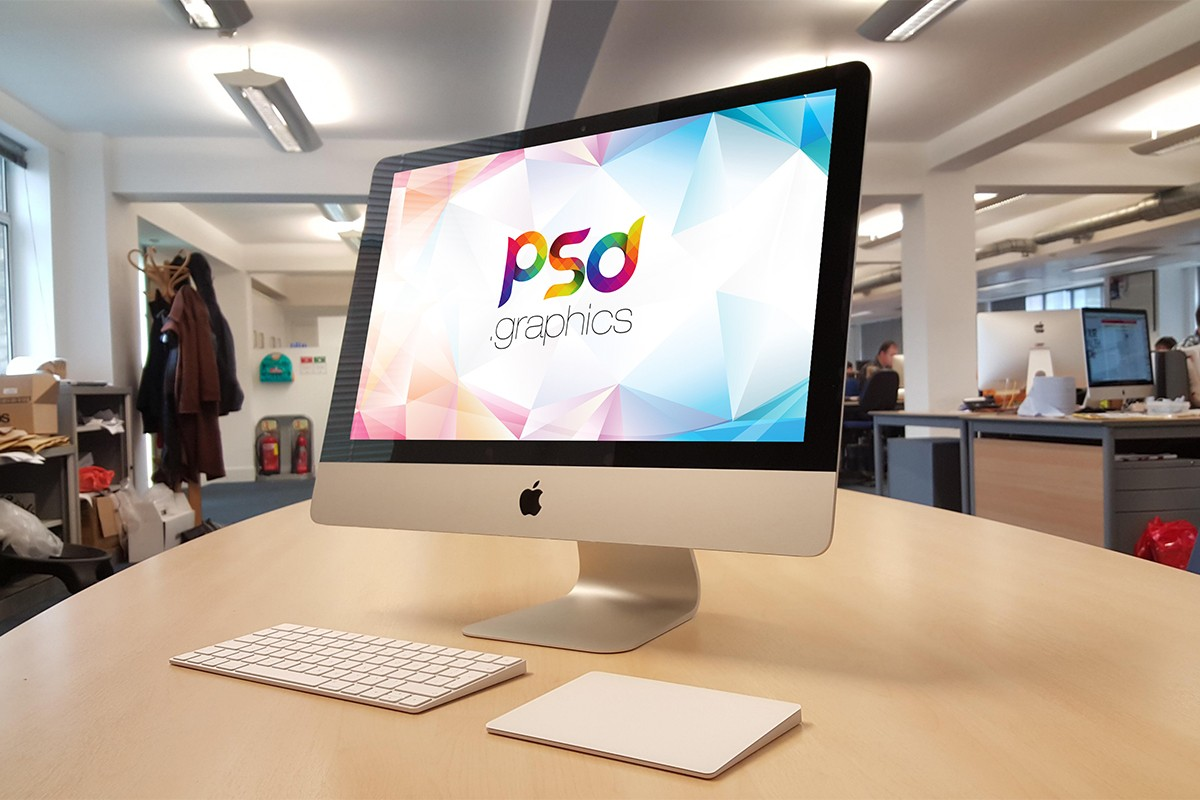 iMac On Office Desk Mockup PSD