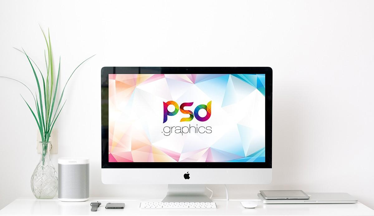Minimal iMac on Desk Mockup