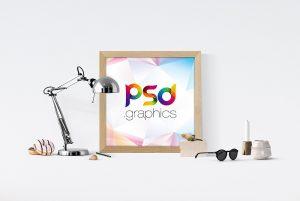 Square Poster Frame Mockup PSD