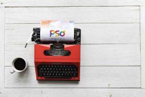 Typewriter Mockup Free PSD