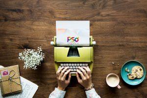 Typing on Typewriter Mockup PSD