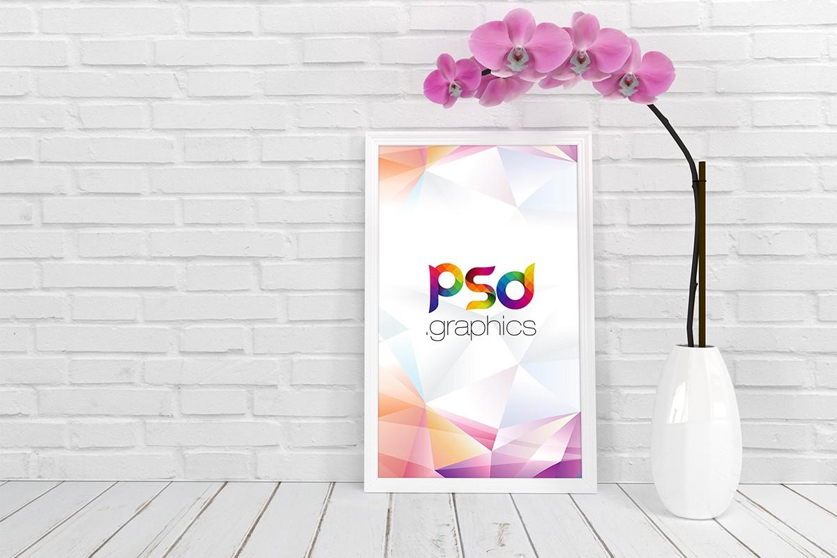 White Poster Frame Mockup PSD