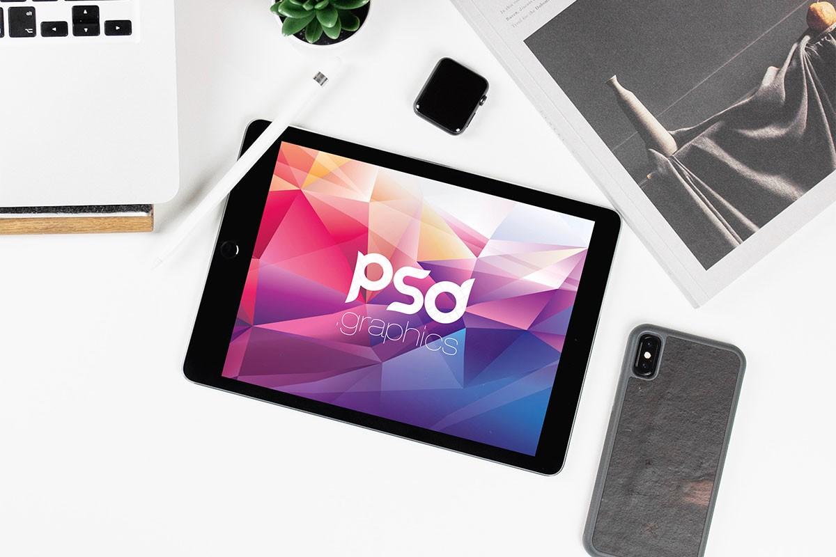 iPad Flat Lay Mockup PSD