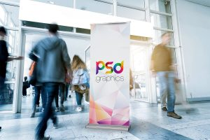 Free Roll-up Standing Banner Mockup PSD
