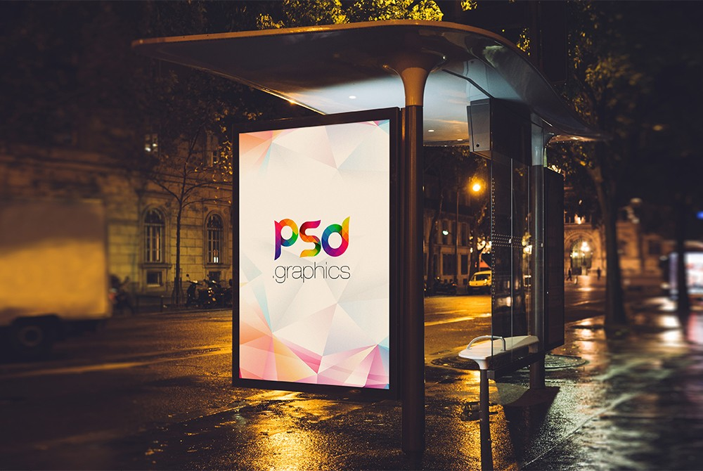 Bus Stand Billboard Advertising Mockup