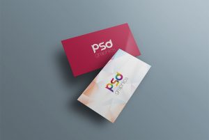 Floating Business Card PSD Mockup