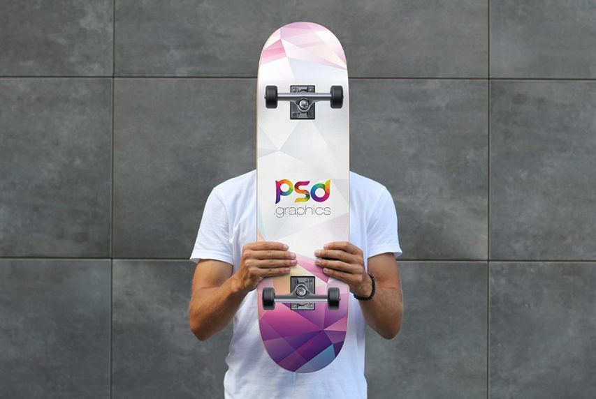 Skateboard Mockup Template PSD skateboarder skateboard mockup skateboard design skateboard photoshop outdoor mockup template mockup hand free mockups branding