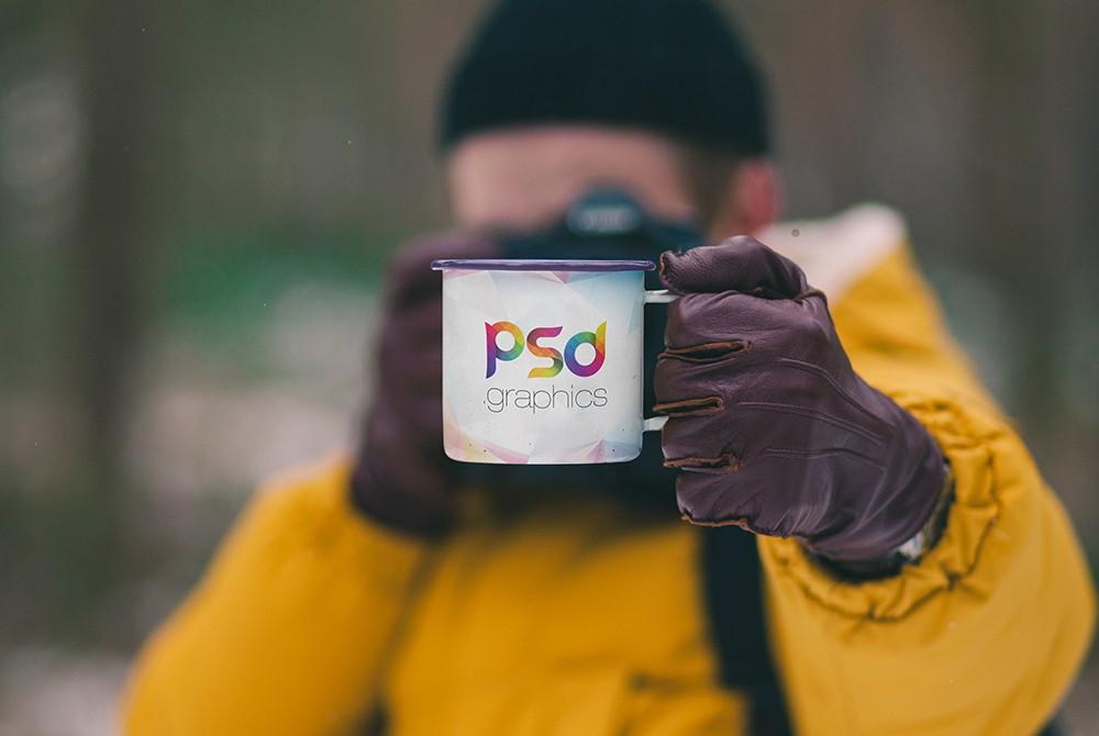 Holding Enamel Mug Mockup