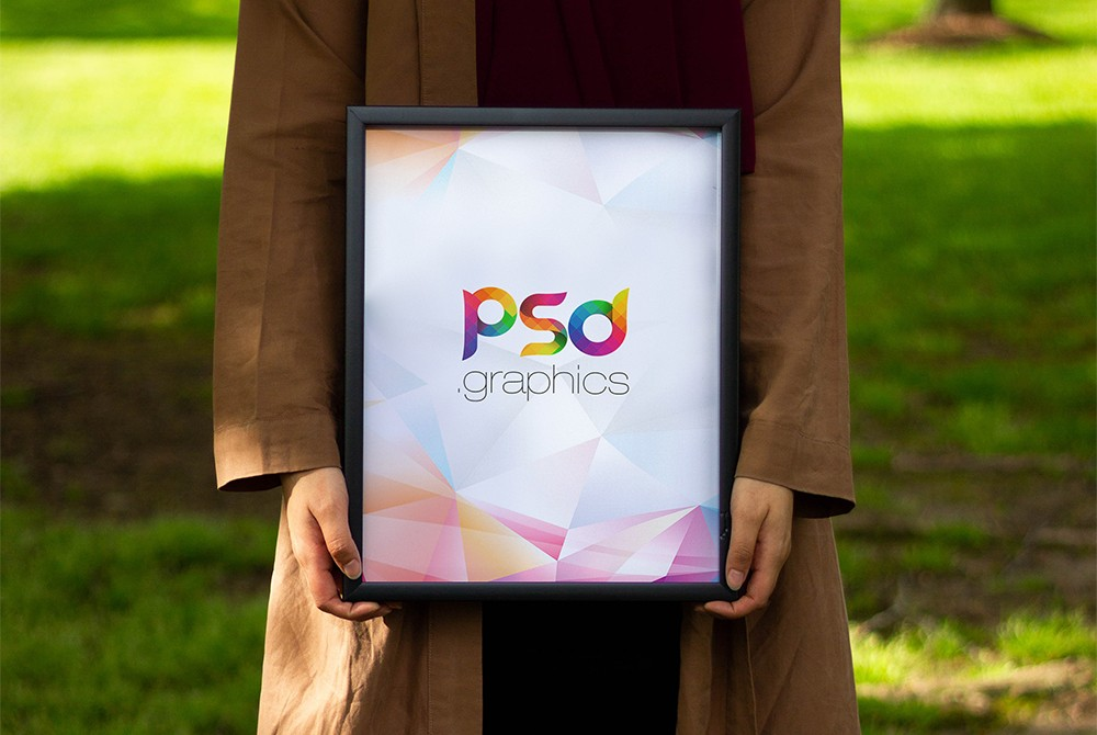 Women Holding Photo Frame Mockup