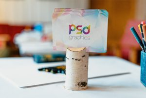 Business Card on Table Mockup