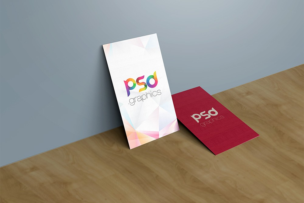 Vertical Business Card Mockup PSD Template