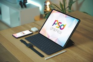 iPad Pro with iPhone Mockup PSD