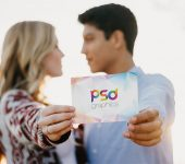 Couple Holding Invitation Card Mockup