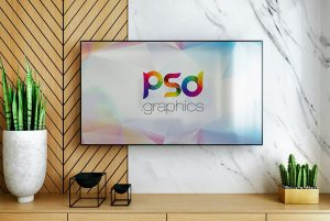 Smart TV on Wall Mockup