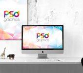 iMac with Wall Poster Mockup