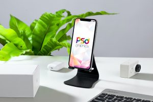 iPhone on Mobile Stand Mockup PSD